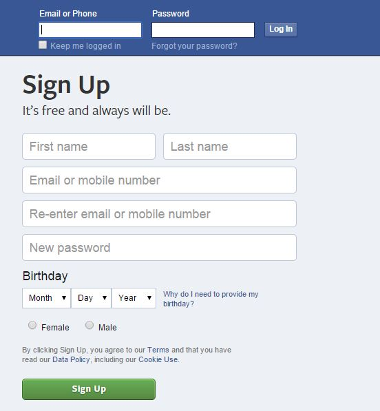 facebook sigin and signup