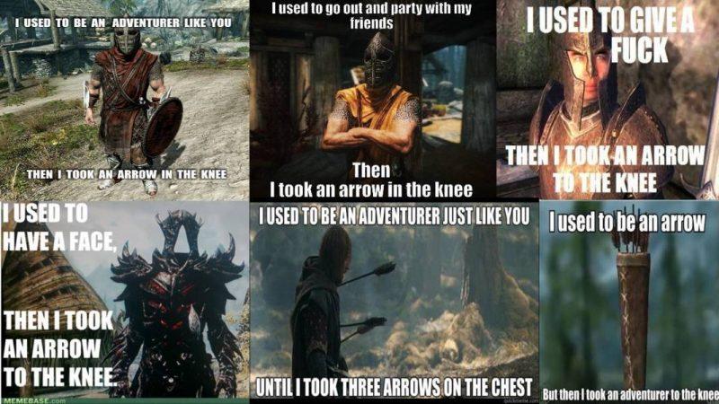 skyrim meme arrow knee