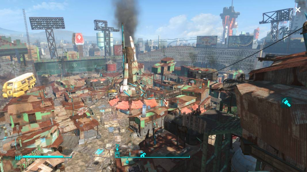 Diamond City, a city built on a stadium, in Fallout 4