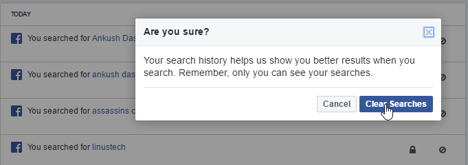 how to delete recent searches on facebook