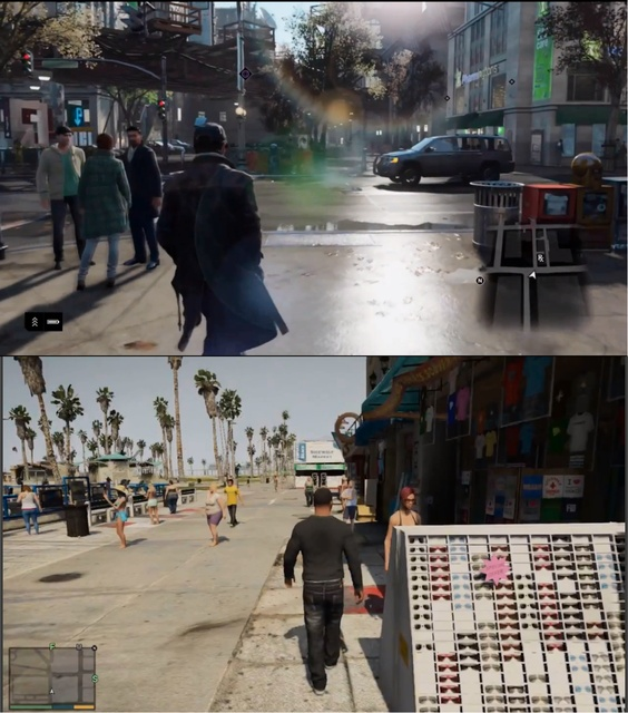 A still of Watch_Dogs(Above) A still ogf GTA V(Below)