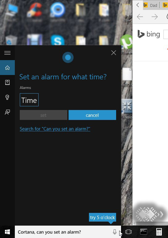Cortana, Set an Alarm.