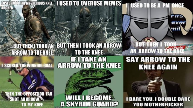skyrim meme arrow knee