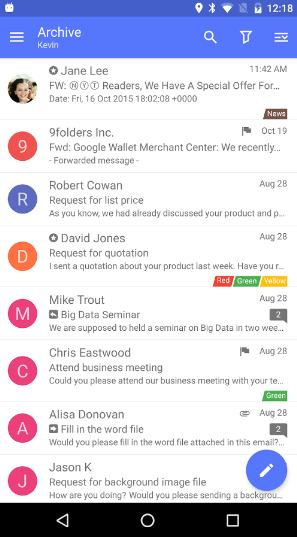 nine - picture of email app