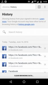 google chrome history - clear history on Android