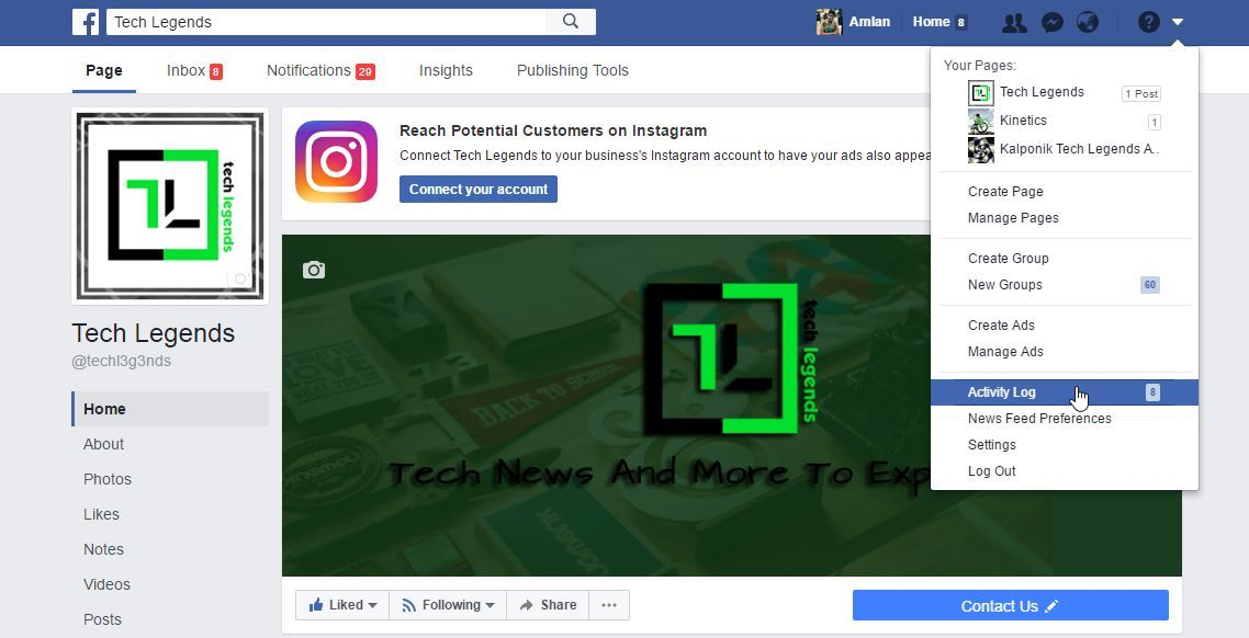 how to clear facebook activity log