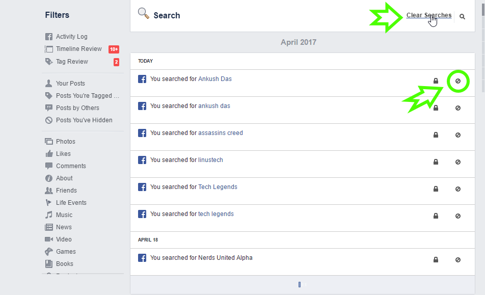 facebook search history activity log