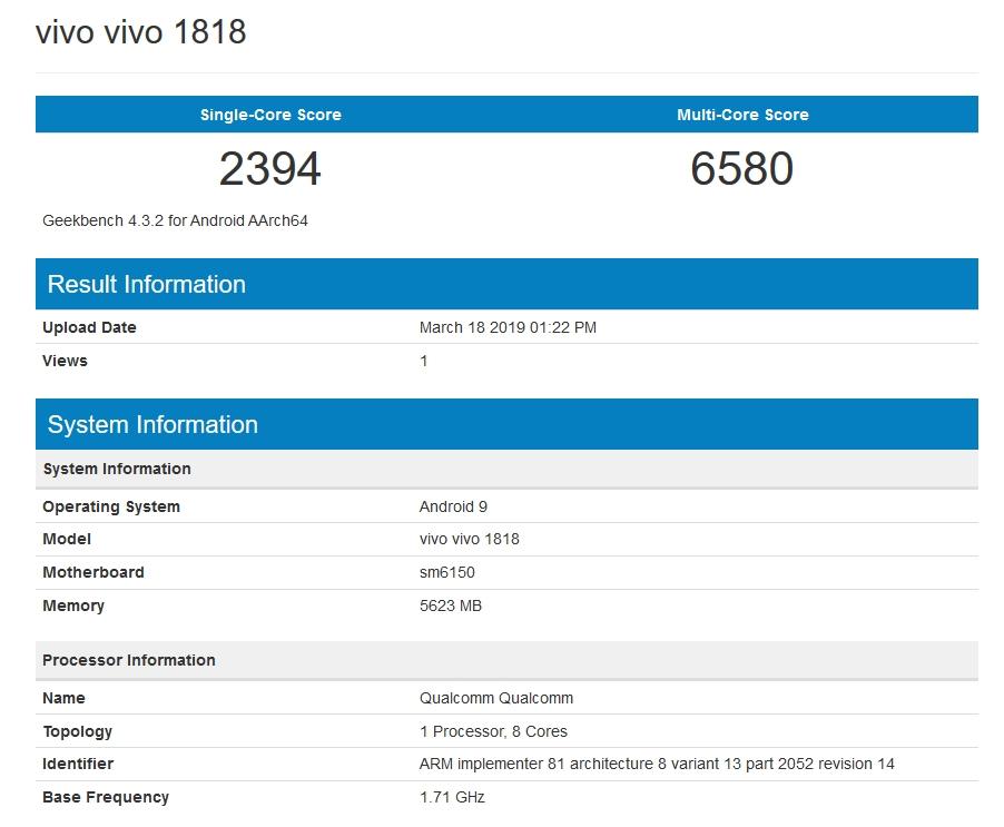 Vivo V15 Pro Benchmarks